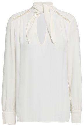 BA&SH Tie-front lattice-trimmed crepe blouse
