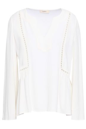 BA&SH Lattice-trimmed gathered crepe blouse