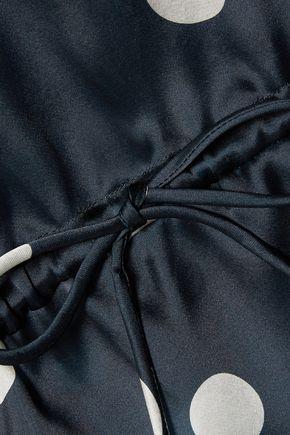 GANNI Ruffle-trimmed polka-dot silk top