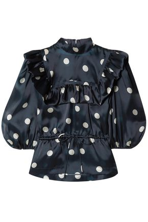 GANNI Ruffle-trimmed polka-dot silk top