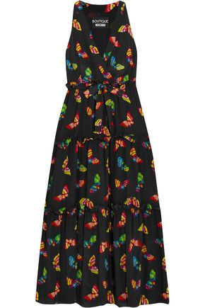 BOUTIQUE MOSCHINO Ruffle-trimmed printed silk crepe de chine midi dress