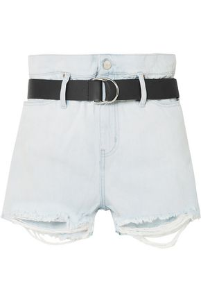 IRO Andel belted distressed denim shorts