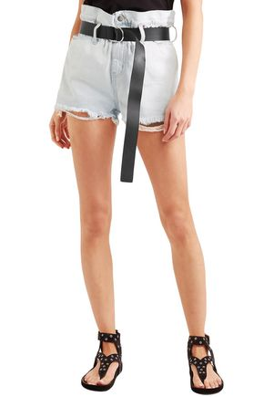 IRO Andel belted distressed denim shorts