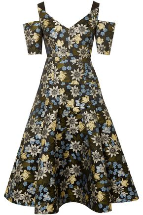 ERDEM Yamal cold-shoulder floral-jacquard dress 3ff297358e3d