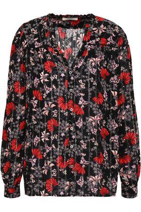BA&SH Lamé-trimmed floral-print georgette blouse