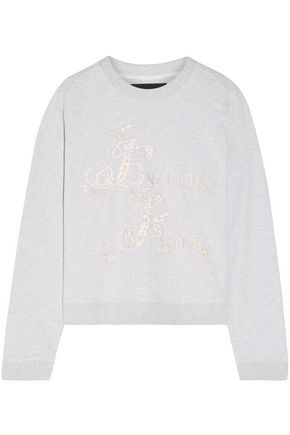 NEEDLE & THREAD Embroidered French cotton-blend terry sweatshirt