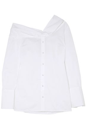 VICTORIA, VICTORIA BECKHAM Off-the-shoulder cotton-poplin shirt