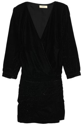 BA&SH Wrap-effect velvet mini dress