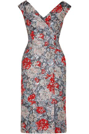 ERDEM Jyoti button-detailed brocade dress