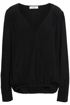 BA&SH Wrap-effect gathered crepe de chine blouse