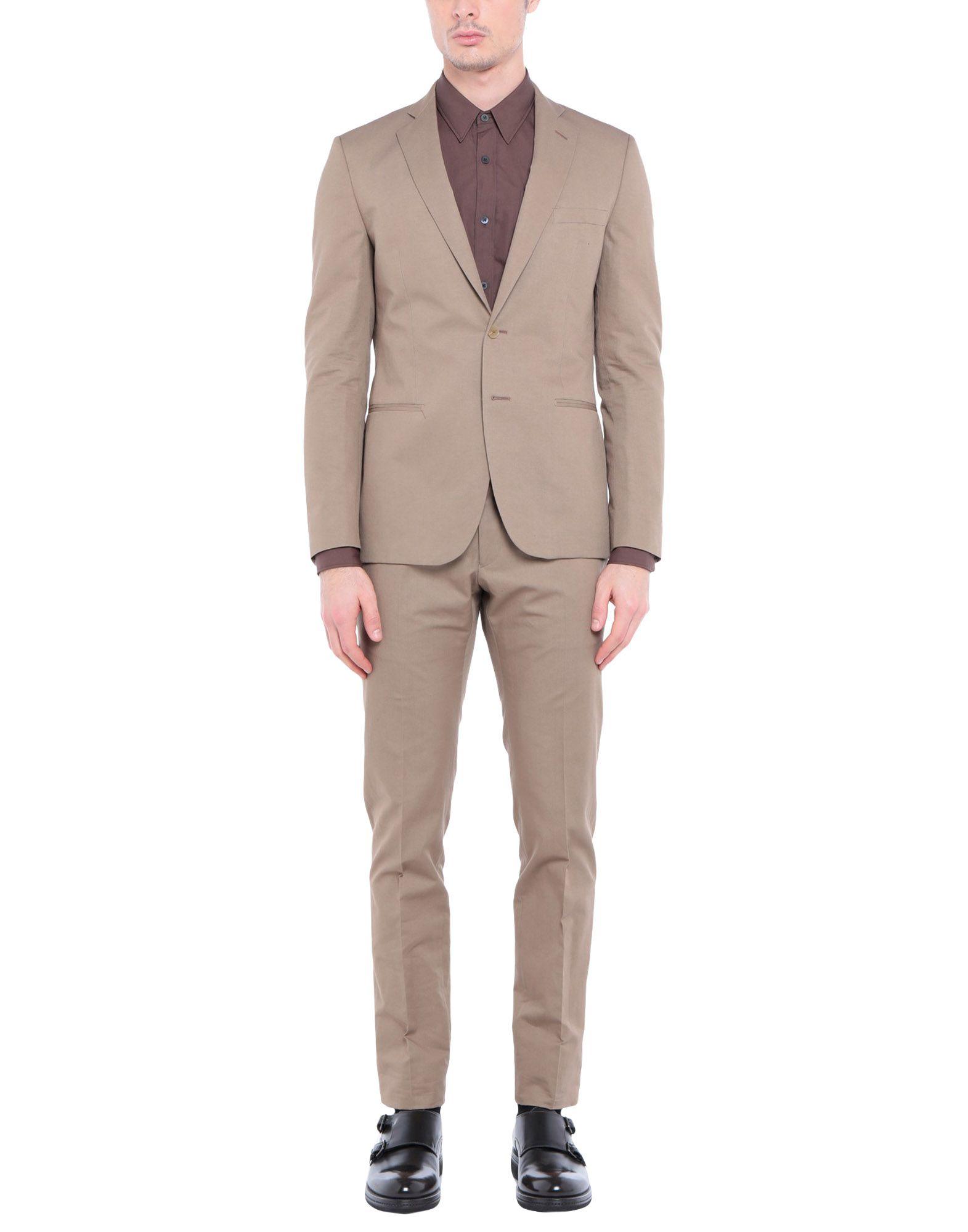 《送料無料》TONELLO メンズ スーツ キャメル 46 コットン 71% / 麻 29%