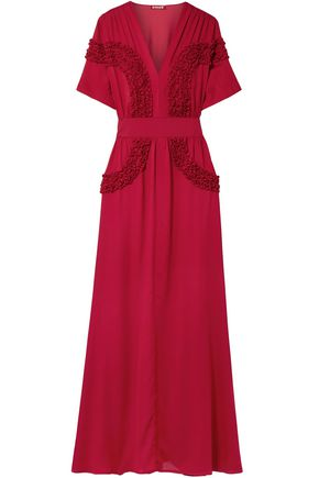 STAUD Isa ruffled chiffon maxi dress