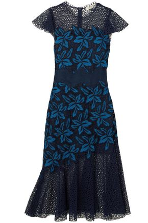 SEA Mosaic guipure lace midi dress