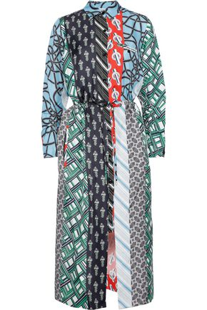 CARVEN Printed silk-faille midi shirt dress