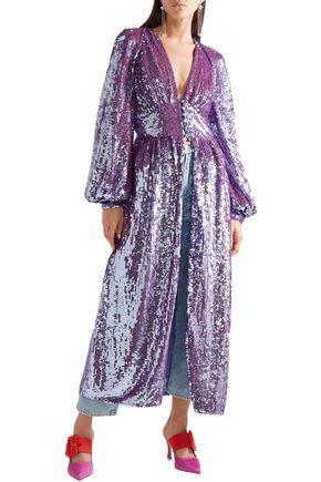 ATTICO Cutout sequined tulle midi dress