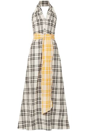 Rosie Assoulin ROSIE ASSOULIN WOMAN BELTED CHECKED COTTON-VOILE HALTERNECK GOWN OFF-WHITE