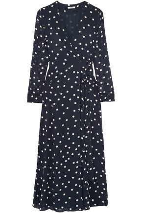 GANNI Barra polka-dot chiffon midi wrap dress