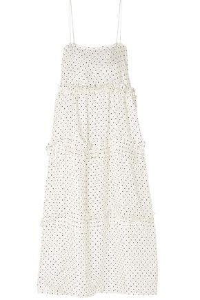 GEORGIA ALICE Fairytale tiered polka-dot silk-satin twill midi dress