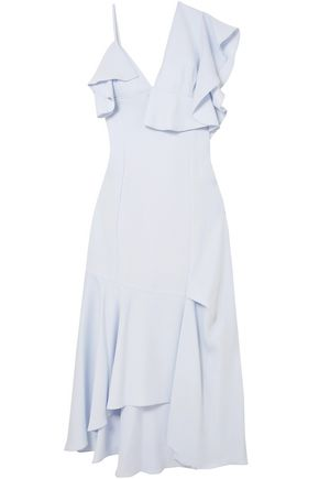 ADEAM Asymmetric ruffled crepe midi dress