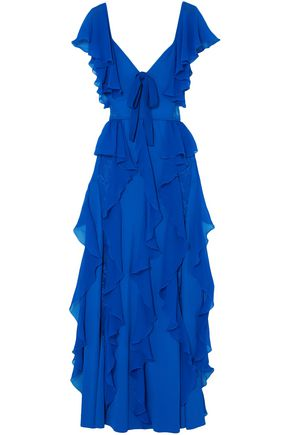 ELIE SAAB Ruffled georgette and lace gown