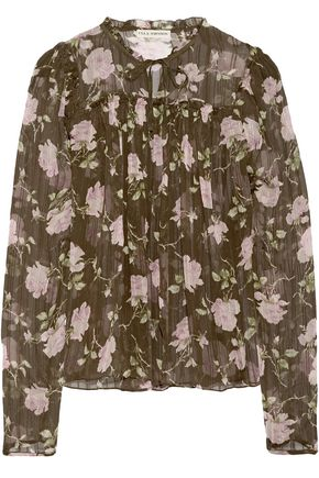 ULLA JOHNSON Petunia printed silk-crepon blouse