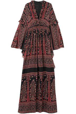 GIAMBATTISTA VALLI Ruffle-trimmed printed silk-chiffon gown