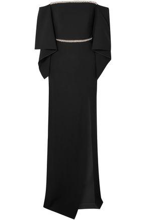ROLAND MOURET Off-the-shoulder embellished crepe gown