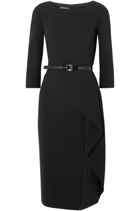 MICHAEL KORS COLLECTION Origami belted draped wool-blend crepe dress