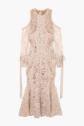 ELIE SAAB Cold-shoulder georgette-trimmed corded lace midi dress