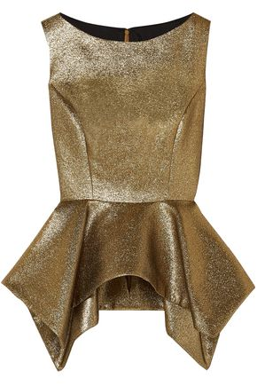 REEM ACRA Cotton-blend lamé peplum top