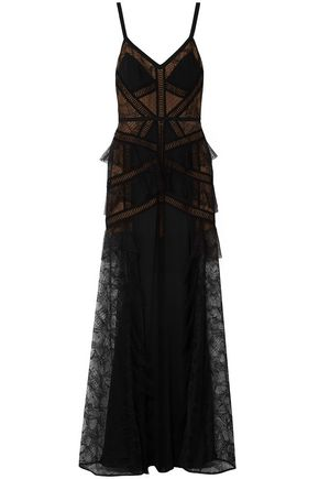 ELIE SAAB Paneled georgette, lace and point d'esprit gown