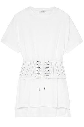MUGLER Belted cotton-jersey T-shirt