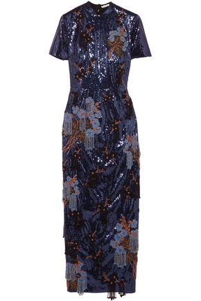 ERDEM Emilie bead and sequin-embellished crepe midi dress