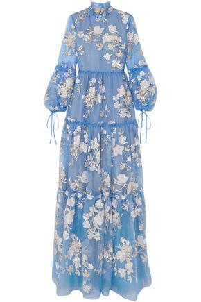 ERDEM Cassandra ruffled embroidered silk-organza gown