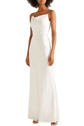 JASON WU Crepe-trimmed satin gown