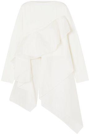ANTONIO BERARDI Asymmetric ruffled silk organza-trimmed crepe top