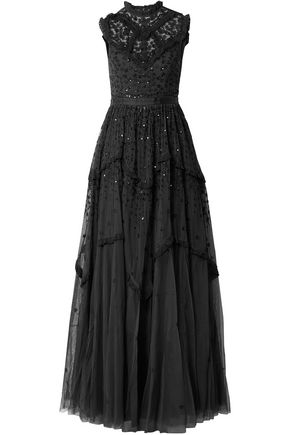 NEEDLE & THREAD Sequined embroidered tulle gown