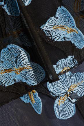 SELF-PORTRAIT Fil coupé and embroidered organza mini dress