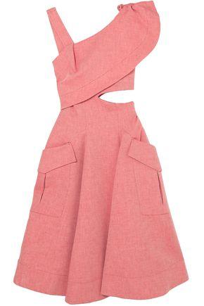 CARVEN Cutout ruffled cotton-blend twill midi dress