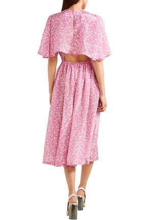 PUSHBUTTON Gathered floral-print gazar midi dress