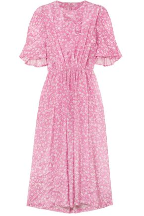 PUSHBUTTON Gathered floral-print gazar midi dress