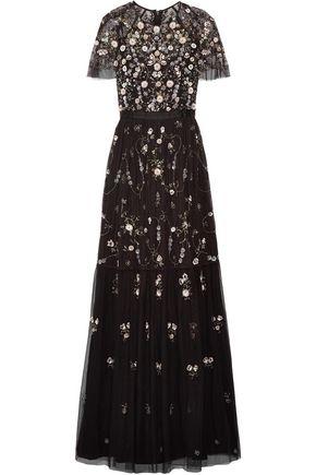 NEEDLE & THREAD Embellished tulle maxi dress