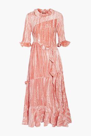 REJINA PYO Crinkled velvet midi dress