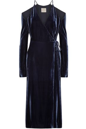 DION LEE Cold-shoulder velvet wrap dress