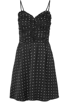 MAJE Polka-dot ruched satin mini dress
