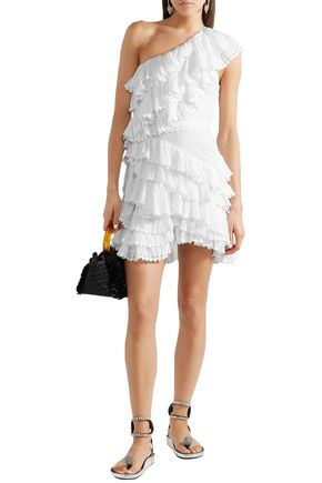a049df803ce ISABEL MARANT One-shoulder tiered cotton-broderie anglaise mini dress