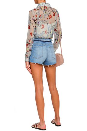 FRAME Lace-up denim shorts