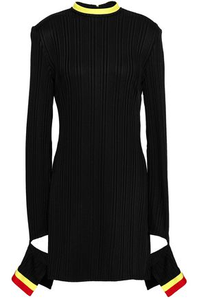 ELLERY Dadaism cutout striped ribbed-knit top