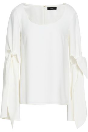ELLERY Maya knotted cutout crepe de chine top