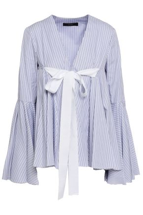 ELLERY Deco bow-detailed cotton-poplin top